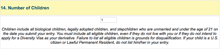 Green card number of children