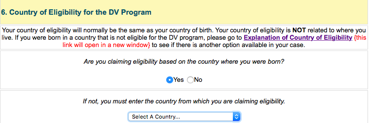 Green card country of eligibility